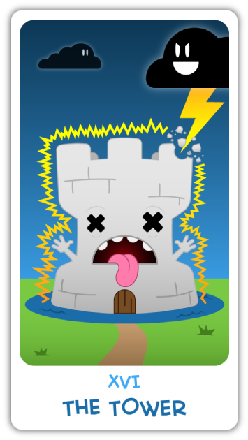 Chibi Tarot - Major Arcana - XVI The Tower