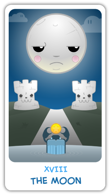 The Chibi Tarot - Major Arcana - XVIII The Moon