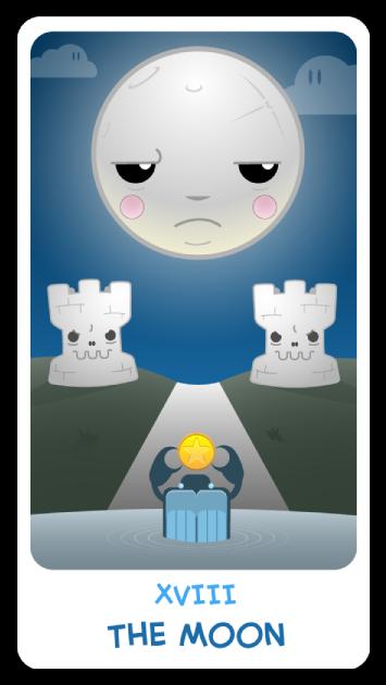 The Chibi Tarot - Major Arcana - XVIII The Moon